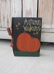 Primitive Autumn Welcome Pumpkins and Stars Night Scene Hand Painted Vintage Book