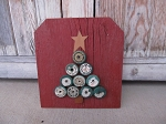 Primitive Rustic Red Barn Board Antique Green Wooden Spool Christmas Tree Sign