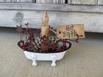 Primitive Vintage Style Enamelware Claw Foot Bath Tub Timer Candle Light with Options