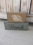 Primitive Summer Beach and Seashell Set of 2 Hand Painted Stacker Blocks