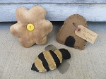 Primitive Bumble Bee, Daisy and Bee Skep Bowl Fillers Set of 3