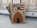 Primitive Bee Skep and Flag Hand Painted Vintage Book