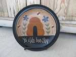 Primitive Bee Skep Flowers and Bees Hand Painted Plate