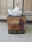 Primitive Birdhouse Watering Can with Flowers Spring Summer Hand Painted Tissue Kleenex Box Cover