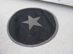 Primitive Black Burlap Round Star Mat