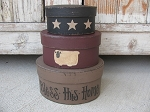 Primitive Bless This Home Sheep and Stars Hand Painted Round Set of 3 Stacking Boxes