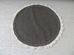 Primitive Farmhouse Fresh Black Checked Round Mat with Lace