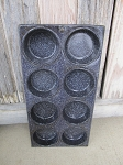 Antique Primitive Vintage Black Speckled Enamelware 8 Cup Muffin Tin