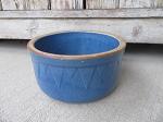 Primitive Antique Vintage Blue Stoneware Bakers Mixing Bowl