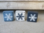 Primitive Winter Blue Snowflake Stacker Blocks Set of 3