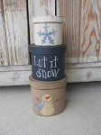 Primitive Blue Snowflake and Snowman Set of 3 Oval Stacking Boxes
