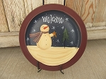 Primitive Country Welcome Snowman Hand Painted Navy Blue Plate