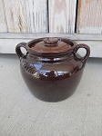 Antique Primitive Stoneware Bean Pot in Brown Glaze with Handles and Lid