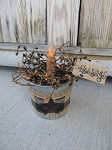 Primitive Farmhouse Galvanized Burlap Bucket Timer Light