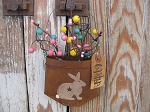 Primitive Spring Bunny Rabbit Hand Painted Rusty Pocket with Berries and Tag