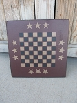 Primitive Burgundy Triple Star Hand Stenciled 12x12 Game Board