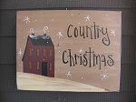 Primitive Hand Painted Burgundy Saltbox Winter Scene Sign