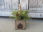 Primitive Rustic Log Cabin Wooden Block Timer Light with Pine Wreath