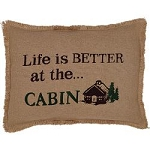 Primitive Rustic Life is Better at the Cabin Burlap Pillow Cover