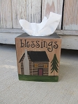 Primitive Northwoods Log Cabin Lodge Hand Painted Tissue Box