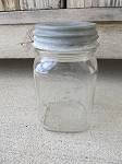 Antique Vintage Canadian Jarre Pint Jar with Antique Zinc Lid