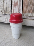 Antique Carnation Malted Milk Vintage Aluminum Red and White Shaker Cup