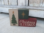 Primitive Christmas Blessings Christmas Tree and Nativity Star Set of 3 Stacking Blocks
