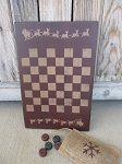 Primitive  Santa Sleigh and Reindeer Christmas Game Board Checkerboard with Checkers and Storage Bag