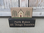 Primitive Country Church Set of 2 Hand Painted Stacker Blocks with Saying Choices