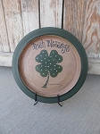Primitive St Patrick's Day Clover Shamrock Irish Hand Painted Plate