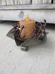 Primitive Colonial Tin Star Shaped Footed Candle Dish with Timer Candle Options and Pip Berry Wreath