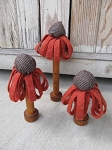 Primitive Country Hand Made Orange Coneflower Spools Set of 3