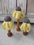 Primitive Country Hand Made Yellow Coneflower Spools Set of 3