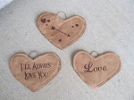 Primitive Valentine's Day Hanging Conversation Hearts Set of 3