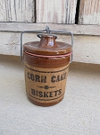 Primitive Brown Stoneware Crock with Corn Cake Biskets Label