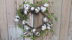 Country Cotton Ball Wreath with Leaves