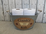 Primitive Country Bath with Claw Foot Bathtub Hand Painted Galvanized Oval Tub