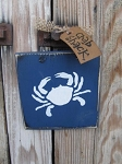 Nautical Lake Beach Rustic Crab Hand Painted Sign Plaque