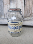 Antique Vintage Tradewind Country Style Crackers Glass Jar Hinged Gallon Size