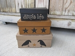Primitive Crows and Stars Set of 3 Rectangle Stacking Boxes