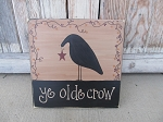 Primitive Crow Stars and Berries Hand Painted Wooden Sign with Saying Options