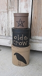 Primitive Crow and Star Oval Set of 3 Stacking Boxes