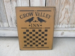 Primitive Colonial Crow Valley Inn Wooden Checkerboard 10x12 Game Board