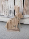 Primitive Rustic Chic Wooden Bunny with Jute Bow