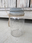 Antique Primitive Vintage Drey Pint Size Mason Jar with Old Zinc Lid