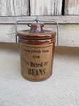 Primitive Brown Stoneware Crock with Alfred's Dried Beans Label