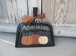 Primitive Antique Vintage Hand Painted Fall Pumpkin Trio Black Dust Pan Decoration