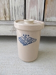 Primitive Stoneware Pottery 1 Quart Butter Church with Eagle Coat of Arms Design with Options