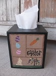 Primitive Easter Sampler Bunny and Eggs Hand Painted Tissue Box Cover