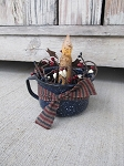 Antique Blue Enamelware Coffee Cup Timer Candle Light with Americana Berries
